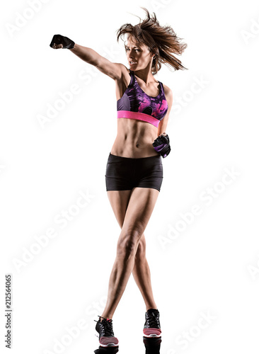 Fotobehang Fitness one caucasian woman exercising cardio boxing cross core workout fitness exercise aerobics silhouette isolated on white background