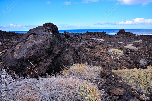 Fotobehang Zwart Landscape in Tropical Volcanic Canary Islands Spain