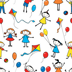 Pattern of the playful funny kids