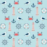 seamless pattern with marine motive - 212569469