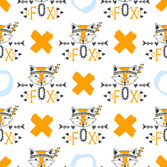 Fashion fox seamless pattern.