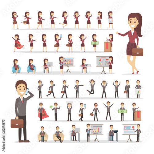 Wall mural Set of businessman and business woman characters