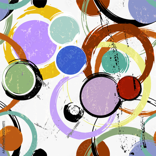 Fotobehang Abstract met Penseelstreken seamless background pattern, with circles, strokes and splashes