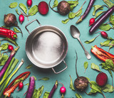 Healthy vegetarian and vegan cooking and eating with seasonal organic vegetables. Clean food concept. Pot and spoon on table background with ingredients, top view, flat lay - 212577000