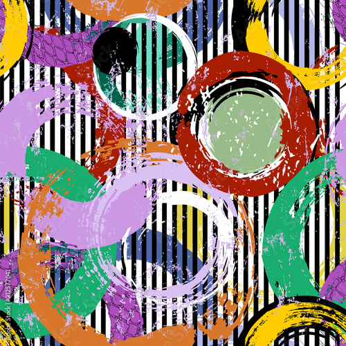 Fotobehang Abstract met Penseelstreken seamless background pattern, with circles, stripes, paint strokes and splashes