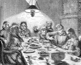Vintage caricatures,  evening meal, family and friends around the table for dinner, plenty of food and wine - 212577237
