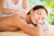 Quadro wellness, spa and beauty concept - close up of beautiful woman having massage over green natural background