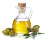 Bottle of olive oil and green olives with leaves - 212578496