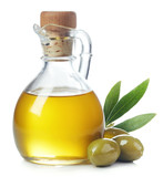 Bottle of olive oil and green olives with leaves - 212578603