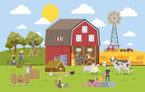 Summer landscape with farm - 212580066