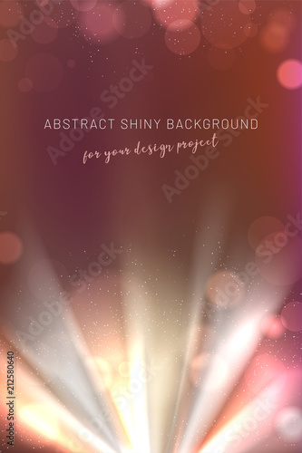 Poster Abstract shiny background with light rays and blurred bokeh circles
