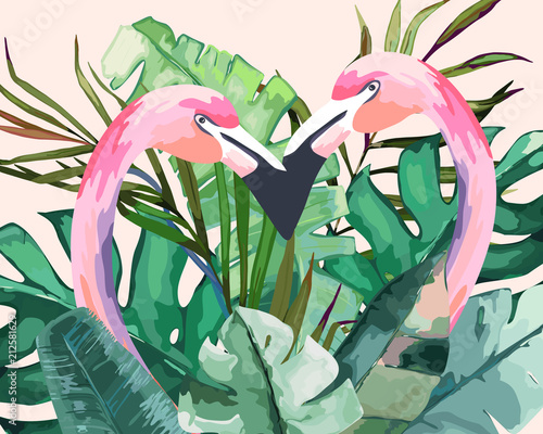 Summer frame with tropical jungle leaves and pink flamingo.Vector aloha illustration. Watercolor style - 212581629
