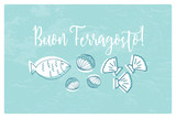 Buon Ferragosto italian summer holiday illustration with seafood doodles - 212584812