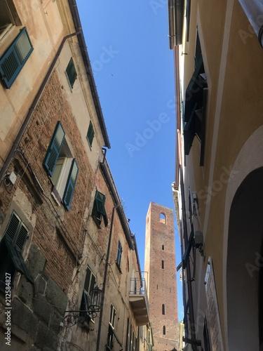 Noli medieval village in Liguria Italy tower