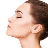 Graphic lines showing facial lifting effect on skin. - 212588450