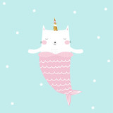 Cute cat mermaid with unicorn gold glitter horn. Kids fashion tee print. Vector hand drawn illustration. - 212589257