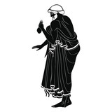 Ancient Greek man carries a bag of money in his hands. Isolated black drawing on a white background. - 212589851