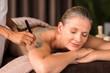 Leinwanddruck Bild - Woman relaxing during mud treatment