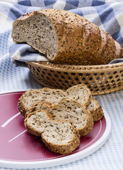 Healthy hommade bread on the wooden table