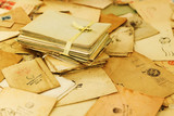 Many old paper mail letters. Envelopes are stamped: