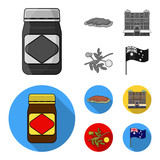 The palace of Queen Victoria, Mount Uluru, a flower of a mimosa, a national flag.Australia set collection icons in monochrome,flat style vector symbol stock illustration web. - 212606698