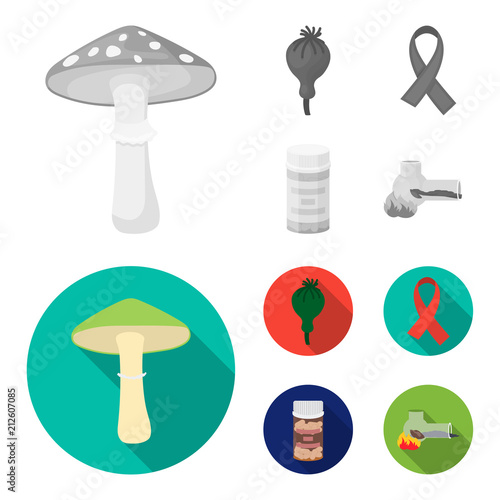 AIDS tape, tablets, opium poppy, a tube for hashish.Drug set collection icons in monochrome,flat style vector symbol stock illustration web.