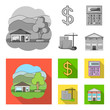 Calculator, dollar sign, new building, real estate offices. Realtor set collection icons in monochrome,flat style vector symbol stock illustration web.