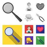 Jeweler, pliers, gold ore, garnet in the form of heart. Precious minerals and jeweler set collection icons in monochrome,flat style vector symbol stock illustration web. - 212607832