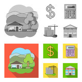 Calculator, dollar sign, new building, real estate offices. Realtor set collection icons in monochrome,flat style vector symbol stock illustration web. - 212607864