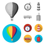 Vacation, travel, lighthouse, compass .Rest and travel set collection icons in monochrome,flat style vector symbol stock illustration web. - 212607872