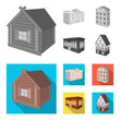 The museum building, a three-story hotel, a stable at the racecourse, a residential cottage. Architectural and building set collection icons in monochrome,flat style vector symbol stock illustration