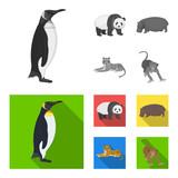 Bamboo bear, hippopotamus, wild animal tiger, monkey . Wild animal set collection icons in monochrome,flat style vector symbol stock illustration web.