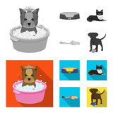 Lounger for a pet, clipping of claws in a vet clinic, lying dog, puppy with a ball. Vet clinic and pet,dog care set collection icons in monochrome,flat style vector symbol stock illustration web.