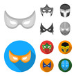 Mask on the head and eyes. Super Hero Mask set collection icons in monochrome,flat style vector symbol stock illustration web.