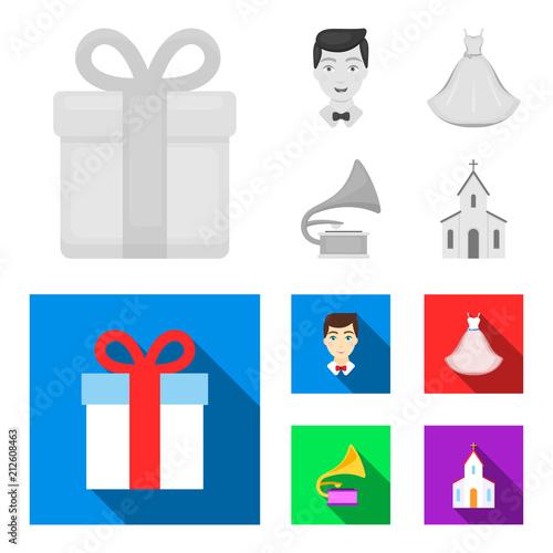 Fotobehang Auto Wedding dress, groom, gramophone, church. Wedding set collection icons in monochrome,flat style vector symbol stock illustration web.