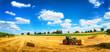 Sommer am Land: Traktor beim Laden von Stroh - 212609093