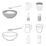 Bowl of cottage cheese, a glass, a bottle of kefir, a jug. Moloko set collection icons in outline,monochrome style vector symbol stock illustration web. - 212609607