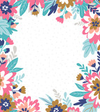 Vector floral frame in hand drawn style with flowers and leaves. Summer floral background for greeting cards, wedding cards or invitations. - 212610066
