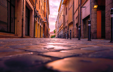 Stone street in Rimini historic center