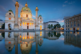 Vienna. Cityscape image of Vienna with St. Charles Church during twilight blue hour. - 212614497