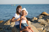 Two children by the sea