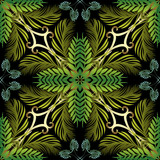 Floral green tropic palm vector seamless pattern.