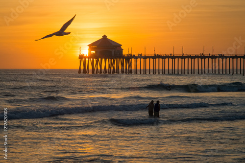Pacific Coast Pier at sunset, Huntington Beach, CA