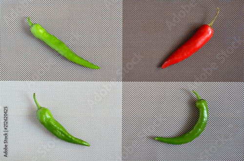 Fotobehang Hot chili peppers Red and green capsicum on a rectangular background of gray, brown and white