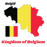 Map outline and flag of Belgium, it is a vertical tricolor of black, yellow, and red. with name text kingdom of Belgium. - 212620869