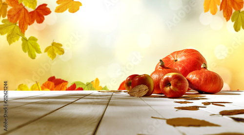 Leinwanddruck Bild table background of free space and autumn time
