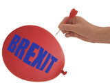 BREXIT balloon to go bang, pop - political metaphor, isolated on white background. - 212623035
