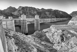 Hoover Dam in United States. Hydroelectric power station on Arizona - Nevada border - 212628405
