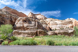 Capitol Reef Canyon mountains and road, Utah - USA - 212628474