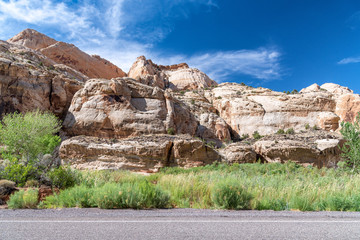 Capitol Reef Canyon mountains and road, Utah - USA
